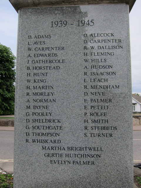 Mildenhall war memorial names