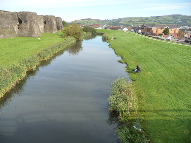 Part of the moat at Caerphilly Castle