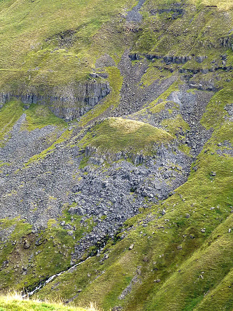 Landslip feature at Amber Hill, Scordale