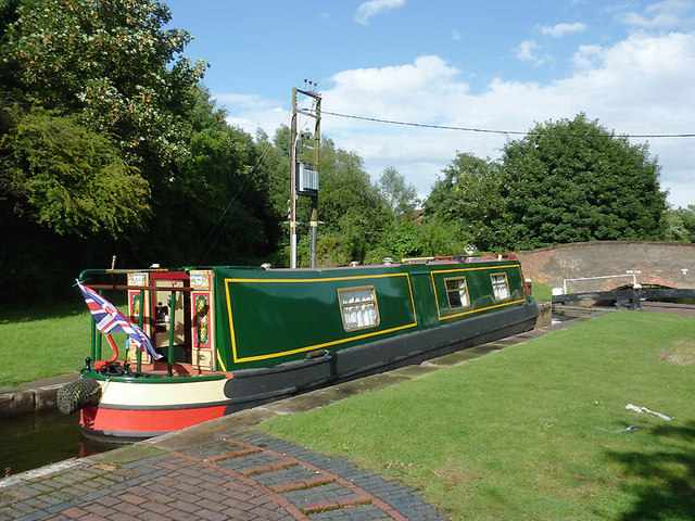 Narrowboat in Minworth Bottom Lock, Birmingham