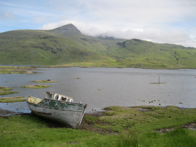 Wrecked boat at Pennyghael