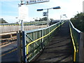 SO7502 : Long ramp up to the footbridge, Cam & Dursley railway station by John Grayson