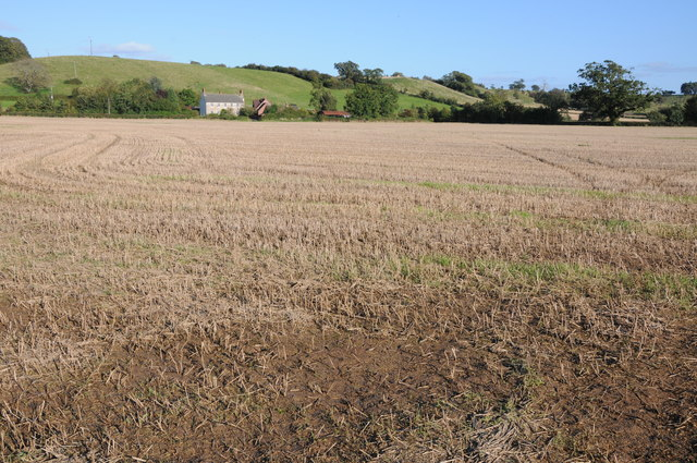 Stubble field and Clapton Farm