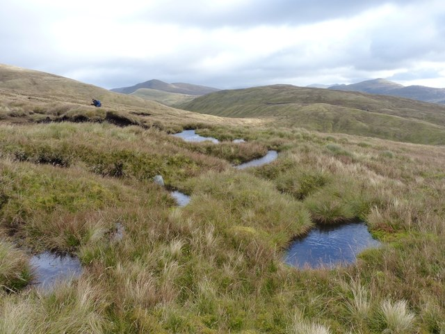Peaty pools on the southern flank of Meall Buidhe