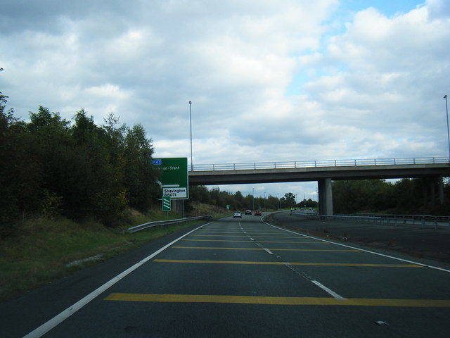 A500 passes under Crewe Road