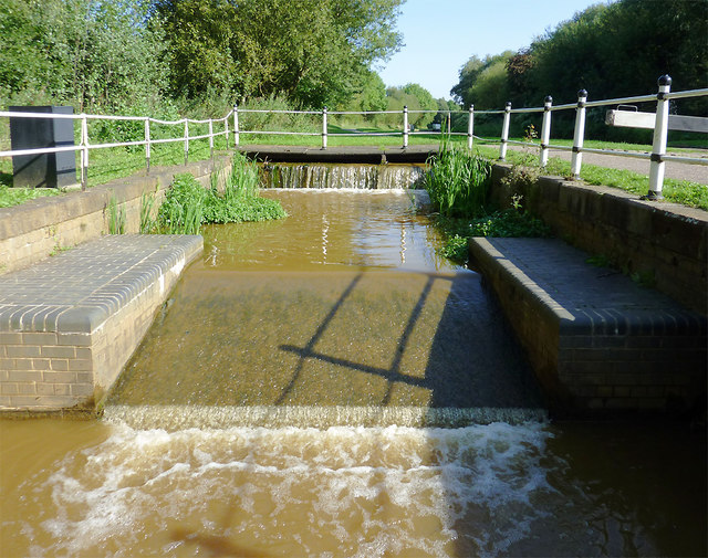Lock overflow channel by Harding's Wood, Staffordshire