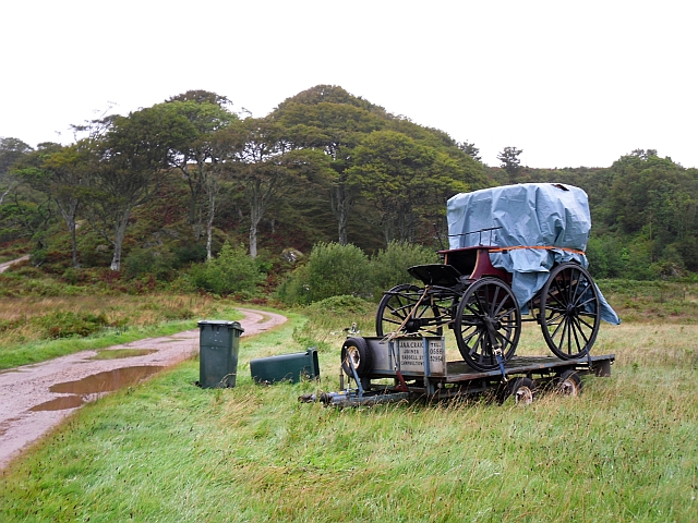 Horse carriage beside farm track