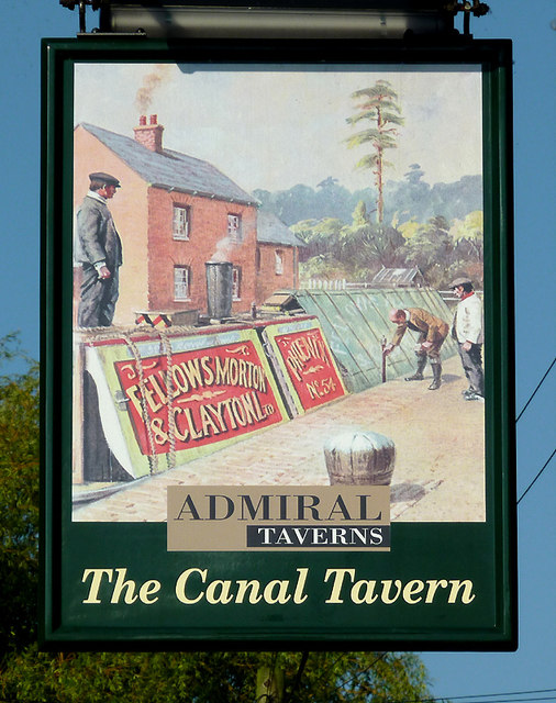 The Canal Tavern (pub sign) at Hardings Wood, Staffordshire