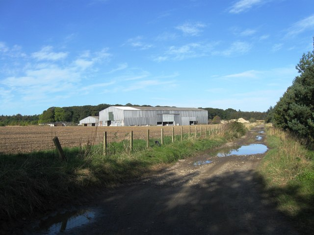 Farm buildings and track