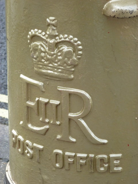 Lymington: detail of the gold postbox (2)