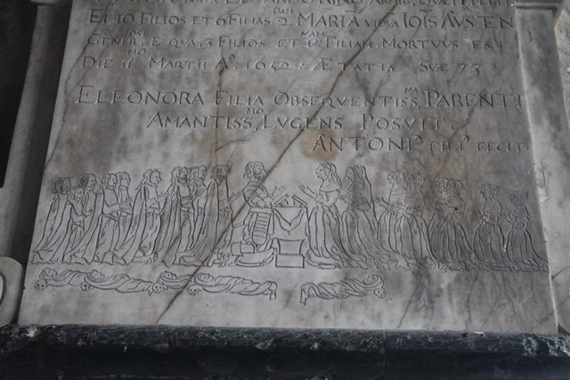 Detail of Memorial to Robert Cawdron(1652), Great Hale church