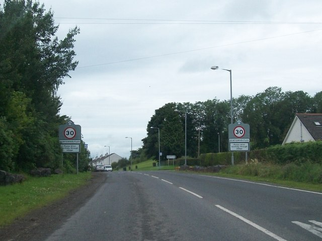 Entering Newtownbutler on the A34 from the direction of Clones