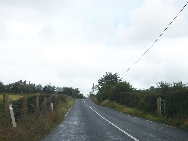 Approaching a cross roads on the A181 near Loughaphortan