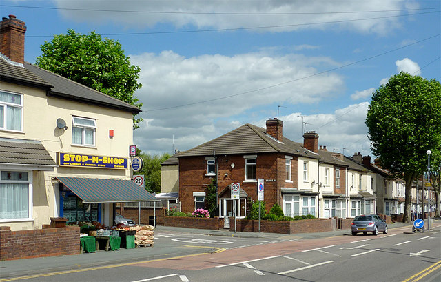 Housing and corner shop in Springfield, Wolverhampton