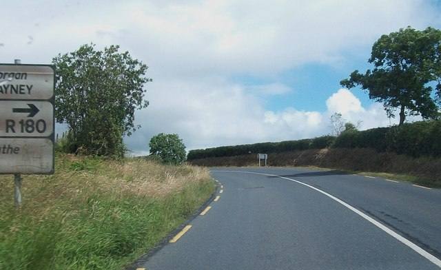 The R181 (Castleblaney) road approaching the cross roads with the R180 (Carrickmacross) road