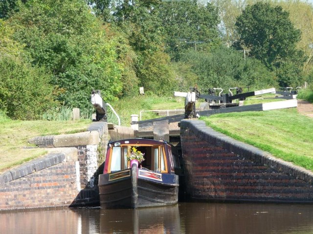 Narrowboat emerging from Lock 38