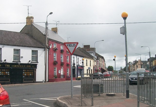 Main Street, Castleblayney at its junction with New Street