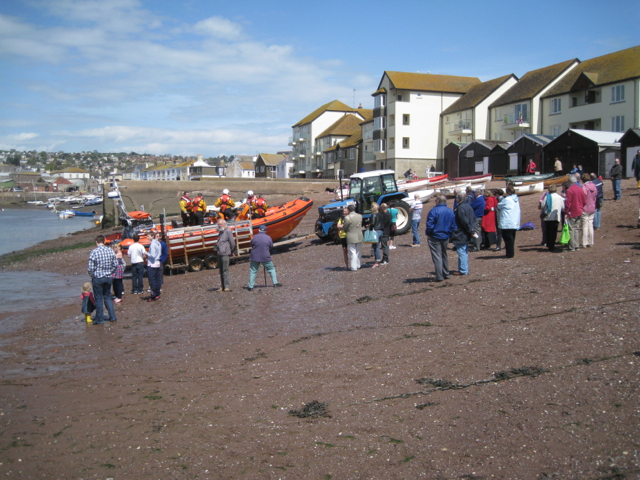 The lifeboat is hauled up the river beach, Teignmouth