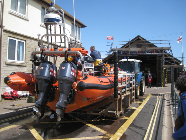 The lifeboat waits in Lifeboat Lane, Teignmouth