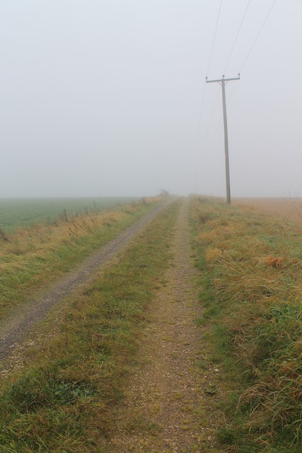 Track to Scopwick Lodge Farm in the mist
