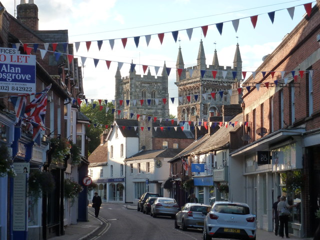 Wimborne Minster: bunting in East Street