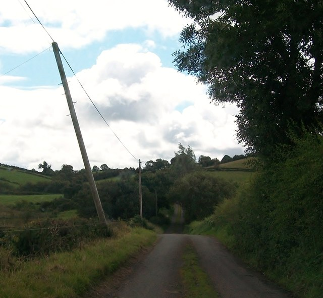 Approaching a junction on a minor road north-west of Lough Tasker
