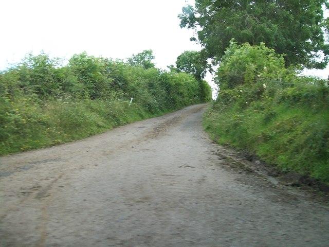 Minor road serving farms along the shores of Lough Tacker