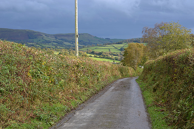 Road descending towards Beili-Neuadd farm