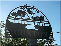 TQ7167 : Cuxton Village Sign (close-up) by David Anstiss