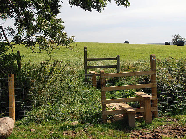 Double stile and a footbridge