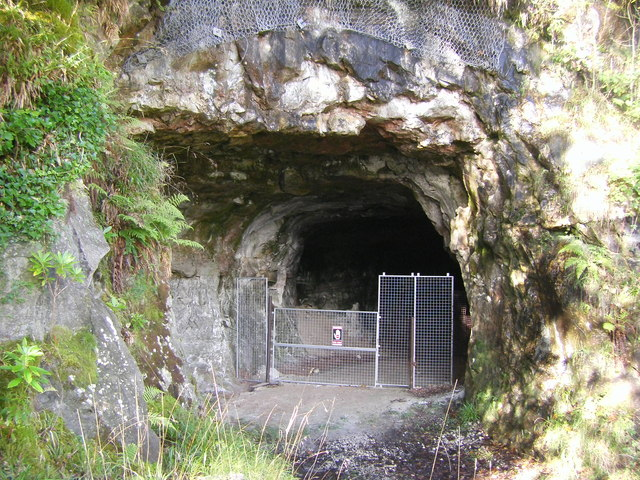 A fenced off Adit No.7, Lochaline Sand Mine
