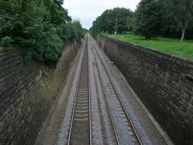 Derby to Nottingham railway line from the B5010