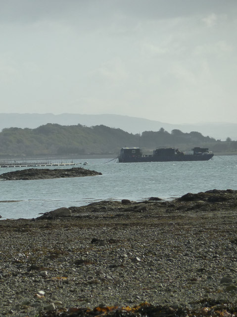 Salmon cages and Barge, Scallastle Bay