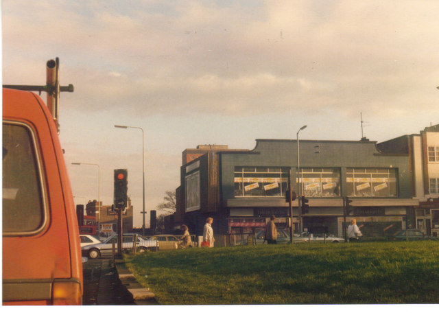 Cinema and shop on Green Lanes from the North Circular Road, 1989