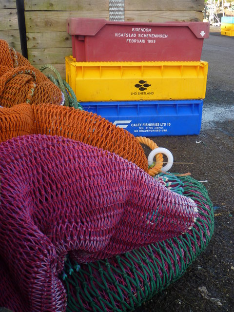 Coastal East Lothian : Fishnets and Boxes at Victoria Harbour, Dunbar