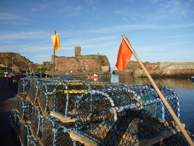 Coastal East Lothian : Creels and Flags at Victoria Harbour, Dunbar