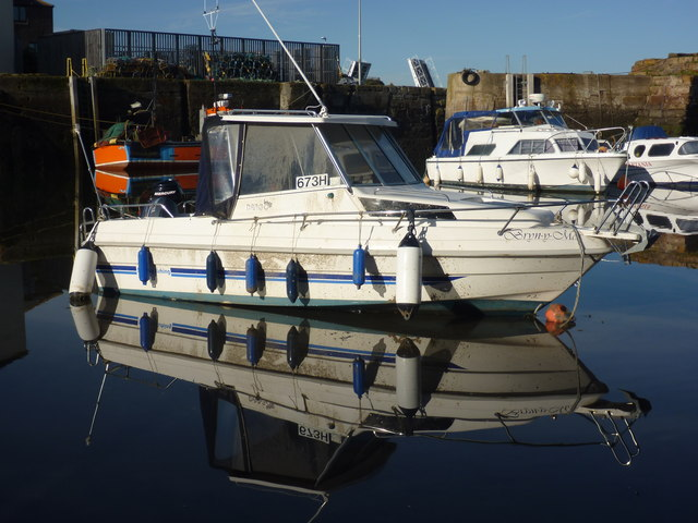 Coastal East Lothian : White And Blue Reflection At Cromwell Harbour, Dunbar