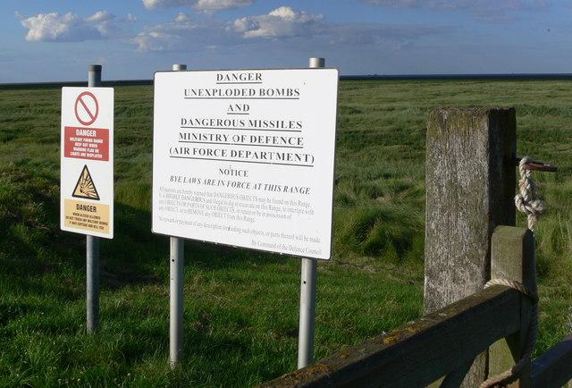 Warning signs at RAF Holbeach bombing range
