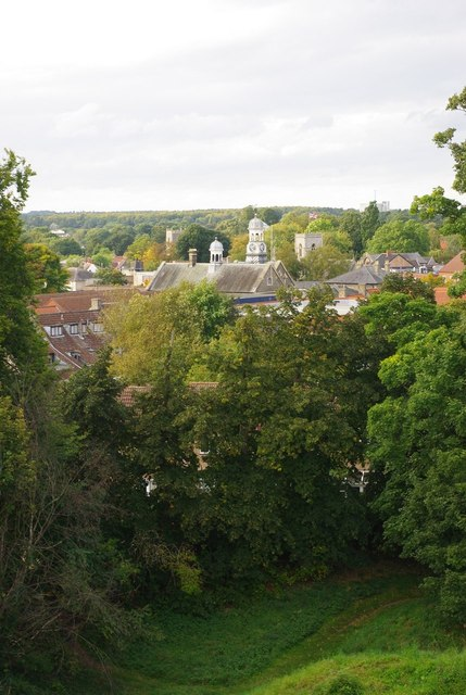 Thetford town centre viewed from the castle