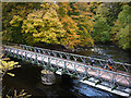 NY5225 : Cycling over the River Lowther at Low Gardens Bridge by Karl and Ali