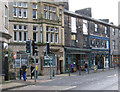 SD9324 : Todmorden - shops on east side of Rochdale Road by Dave Bevis