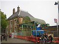 TQ3470 : Crystal Palace station: dismantling the former entrance by Christopher Hilton
