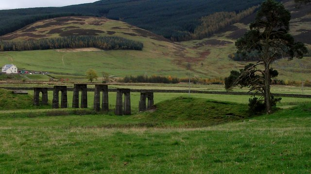 Disused bridge supports on the Talla Railway.