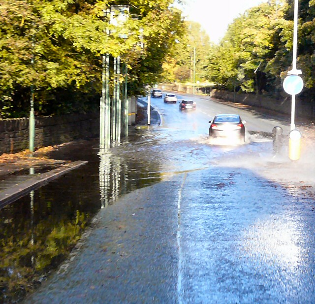 Flash flood on Stockport Road