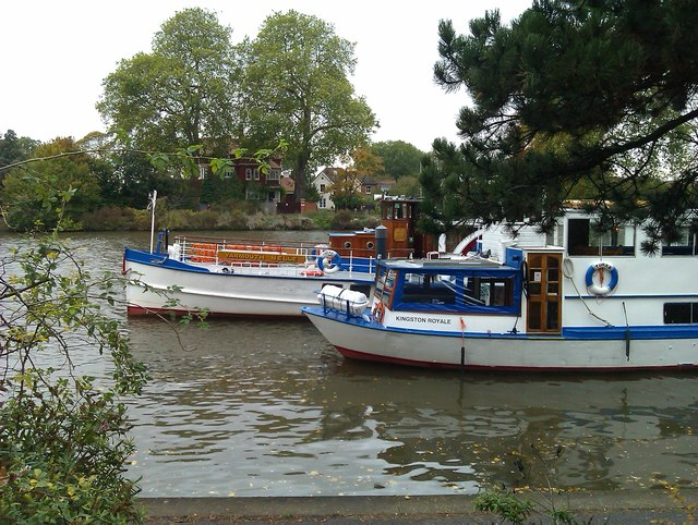 Trip boats moored on the Thames at Kingston