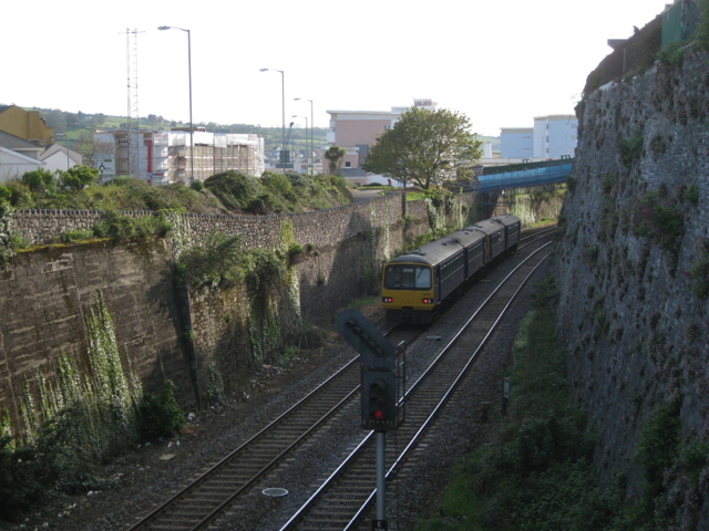 The railway seen from Shute Hill bridge