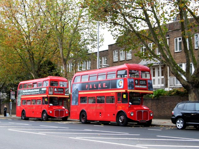 Routemasters on bus stand, High Street Kensington