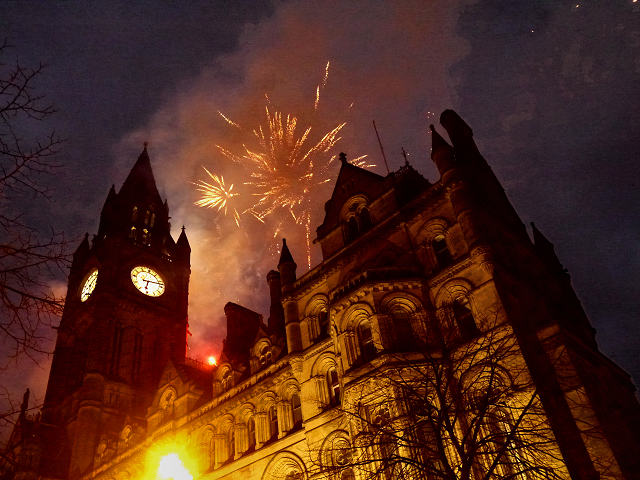 Fireworks, Manchester Town Hall