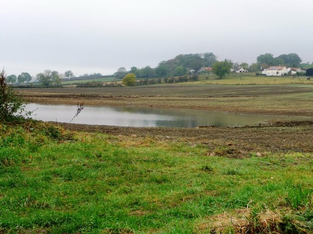 Flooded arable field, west of a minor road