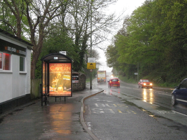 Bus stop in the rain, A380 Torquay Road, Aller